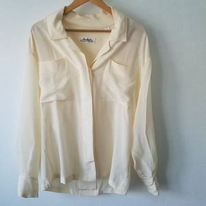 Vintage Ellen Tracy Silk Cream Button Down Shirt